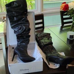 Black glitter thigh high boots
